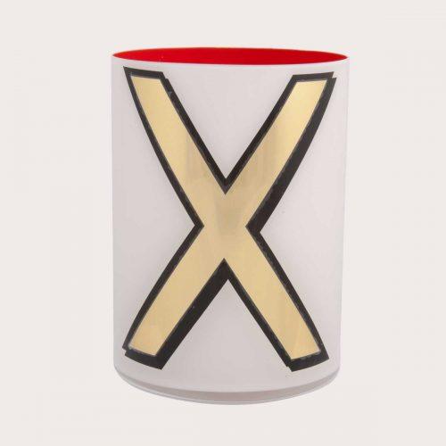 Bridie Hall ALPHABET BRUSH POT – X - WHITE