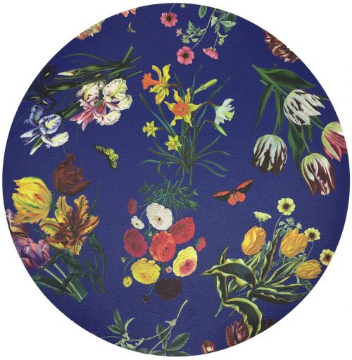 "Nicolette Mayer-FLORA FAUNA BLUE 16"" ROUND PEBBLE PLACEMAT"