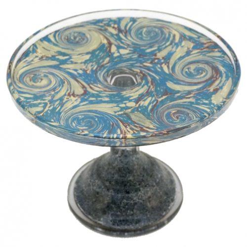 John Derian Stacking Cake Pedestal Blue Swirl (Small)