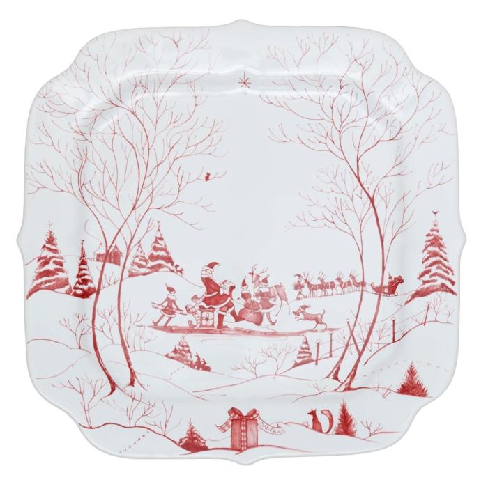 Juliska Country Estate Winter Frolic Ruby Santa's Cookie Tray Naughty and Nice List