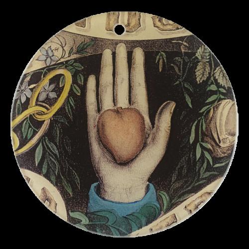"ASTIER DE VILLATTE-John Derian Heart in Hand (3"" Round)"