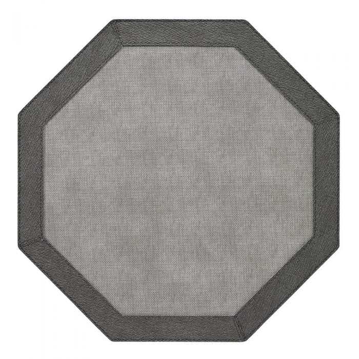 Bodrum Placemat Octagon Bordino Grey Charcoal