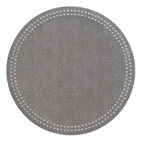 Bodrum Placemat Round Pearls Grey Silver