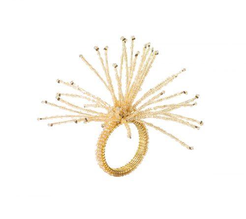 Kim Seybert Napkin Ring Spider Beaded Champagne