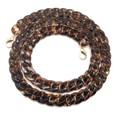Bellissimo Designer Inspired Strap Acrylic Chain Link Brown Tortoise