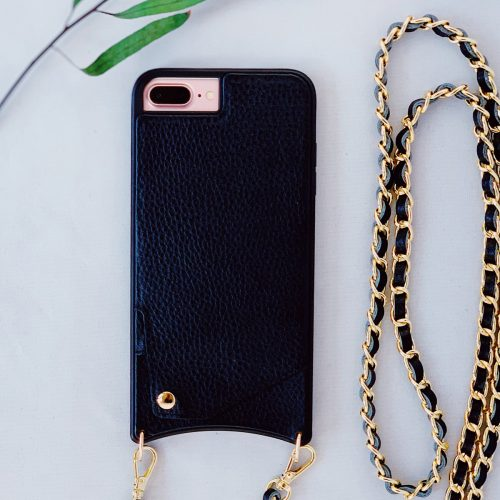 iPHONE CASE CROSSBODY-GENUINE LEATHER-W/ WALLET SLEEVE & CHAIN STRAP