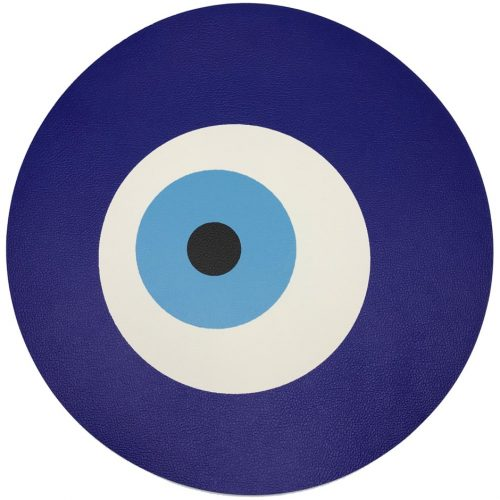 Nicolette Mayer-EVIL EYE WHITE ROUND PLACEMAT