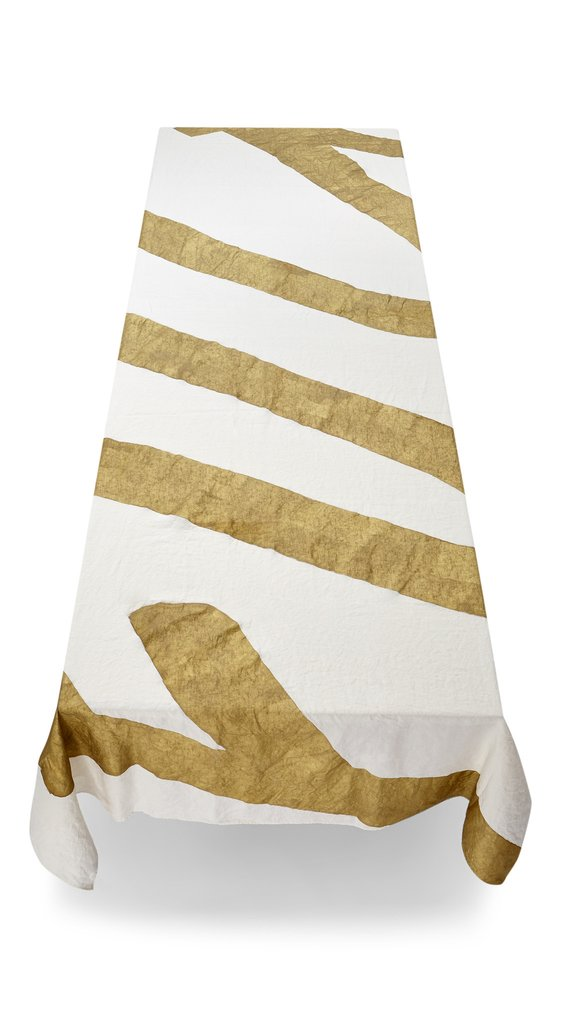 Summerill & Bishop-Tablecloth Fuck Linen in Gold 65″ x 149.5″