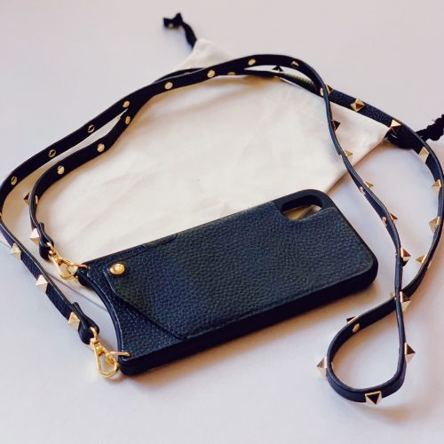 iPHONE CASE CROSSBODY-GENUINE LEATHER-W/ WALLET SLEEVE & STUDDED STRAP