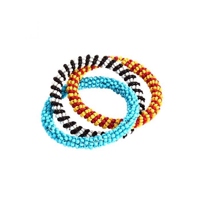 Von Gern Napkin Rings Beaded Blue, Red, Yellow
