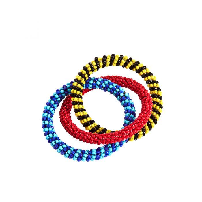 Von Gern Napkin Rings Beaded Black, Yellow, Turquoise