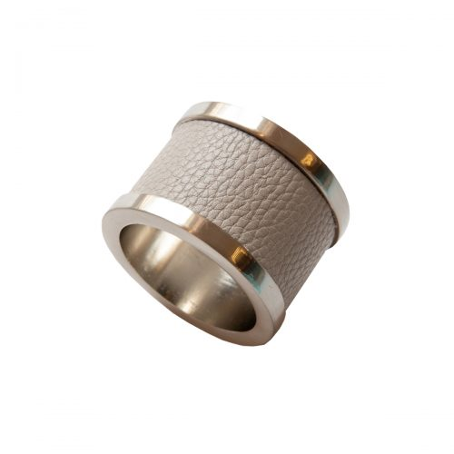 Von Gern Napkin Rings Leather & Zinc Taupe