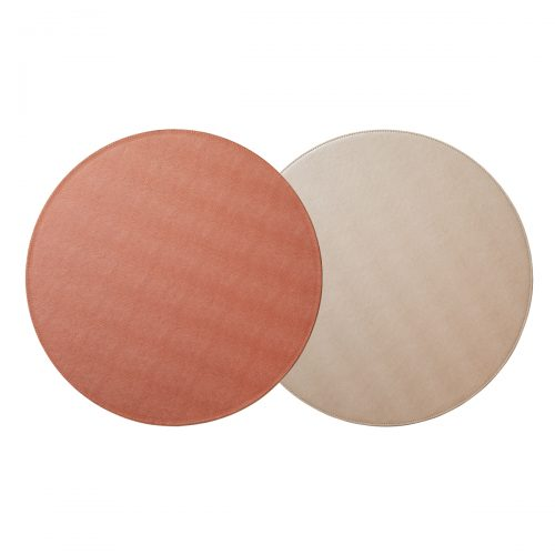 Von Gern Placemats Round Reversible Metallic Rose Gold & Red