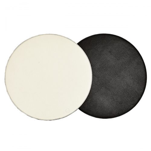 Von Gern Placemats Round Reversible Faux Leather Black & White