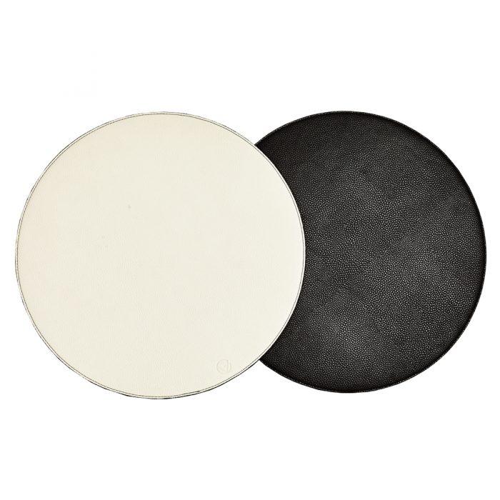 Von Gern Placemats Round Reversible Faux Leather Black & White