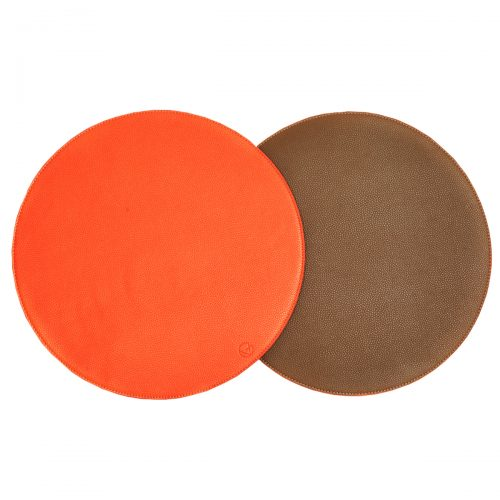 Von Gern Placemats Round Reversible Faux Leather Orange Taupe