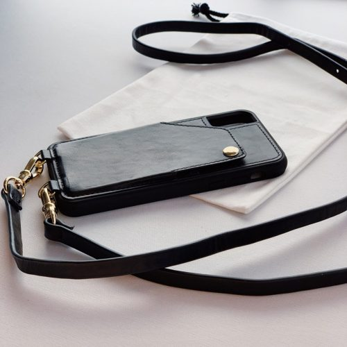 IPHONE CASE CROSSBODY-GENUINE PEBBLED LEATHER-W/ WALLET SLEEVE & STRAP