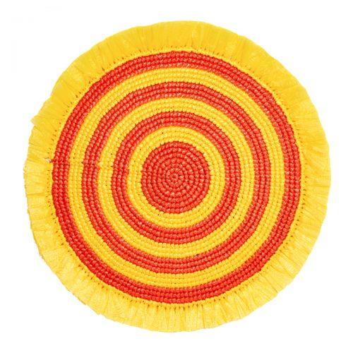 Von Gern Beaded Placemats Woven Fringe Orange Yellow