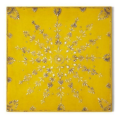 Deborah Rhodes Placemats Caravan Wooden 14″ Square Yellow