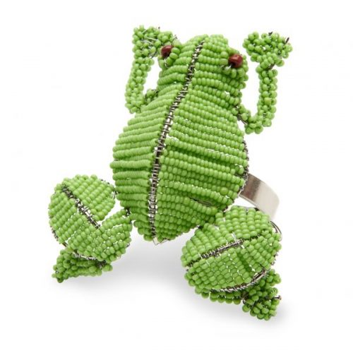Deborah Rhodes Napkin Ring Beaded Frog