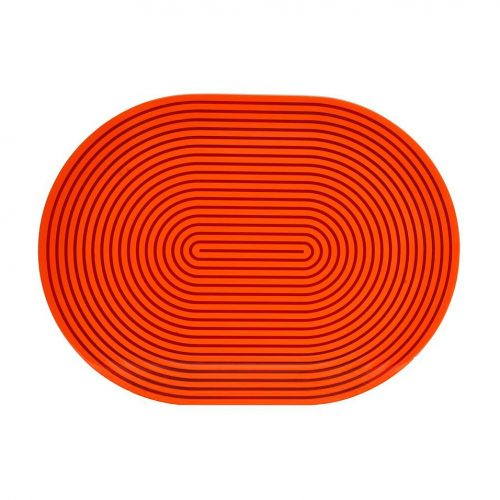 Von Gern Beaded Placemats Orange & Red Lacquer Stripe