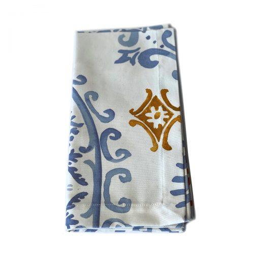Tina Chen Napkin Blue and Gold Flourish