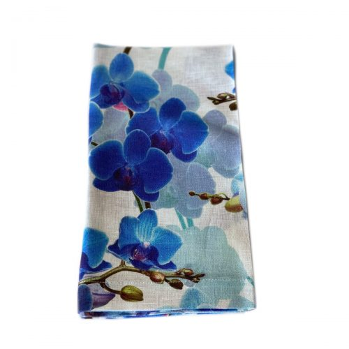 Tina Chen Napkin Blue Orchid Flowers