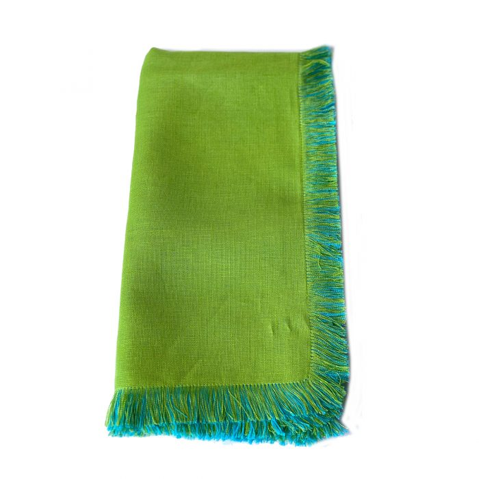 Tina Chen Napkin Lime and Aqua Fringe
