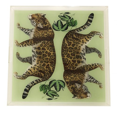 "Leopard Seeing Double Avocado 18"" x 18"" Acrylic Tray"