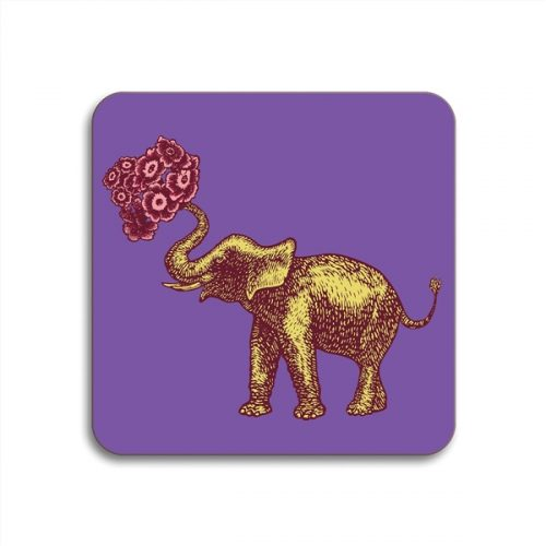 Elephant Square Coasters - Set of 4