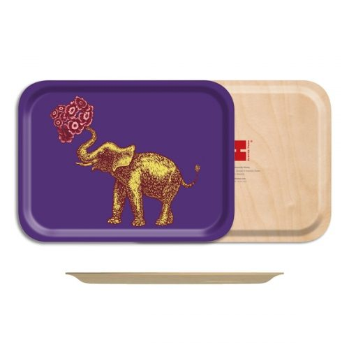 Elephant Birch Wood Rectangle Tray-10½ x 8in