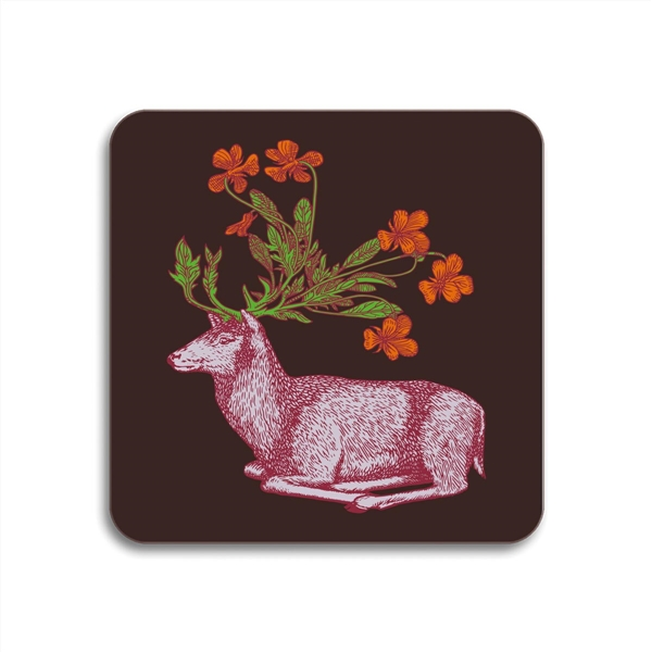 Deer Square Coasters - Set of 4