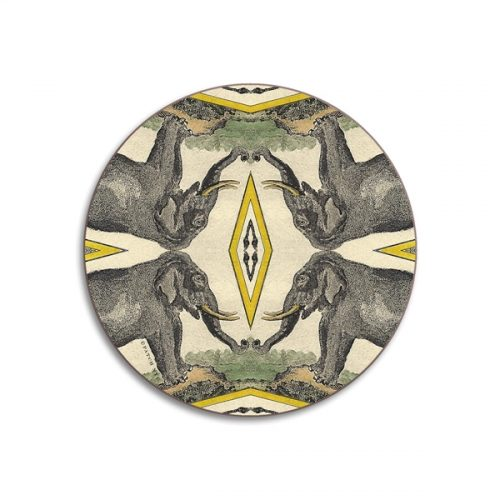 Elephants Round Coasters - Set of 4