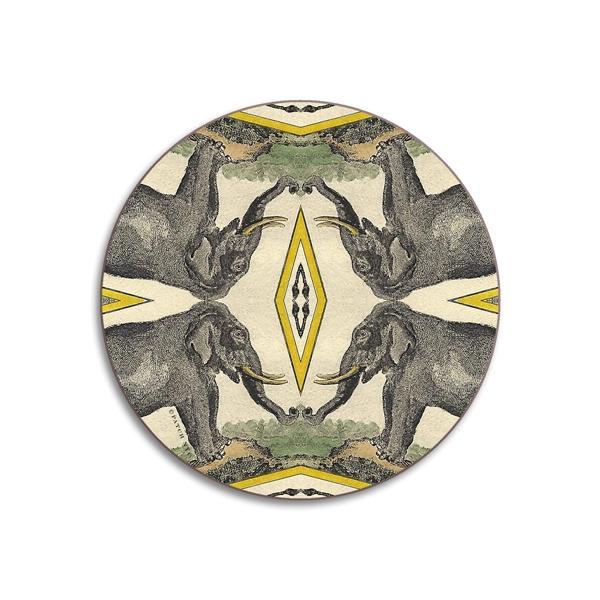 Elephants Round Coasters - Set of 4
