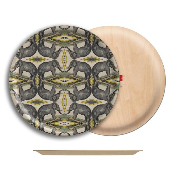 """Elephant Birch Wood Round Tray- 18"""" Dia"""