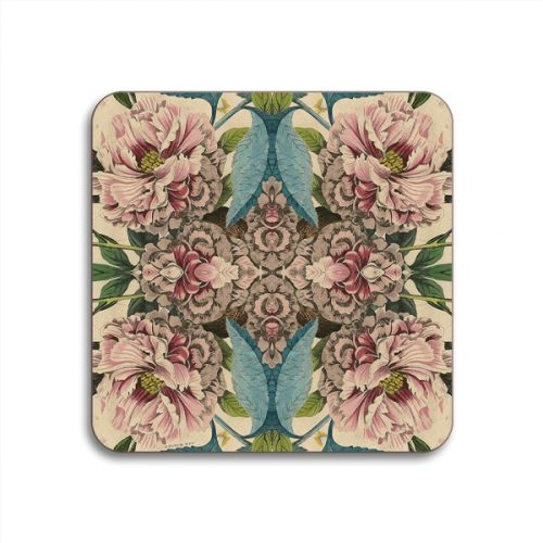 Peonies Square Coasters - Set of 4