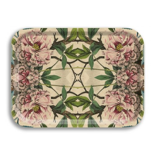 Peonies Birch Wood Rectangle Tray-10½ x 8in