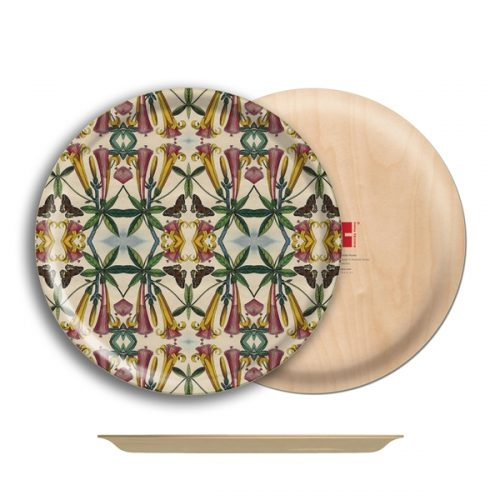 "Yellow Trumpet Flower Birch Wood Round Tray- 12.25"" Dia"