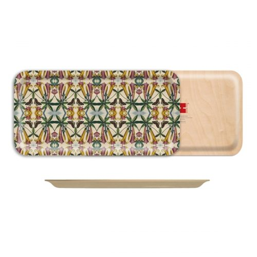 "Yellow Trumpet Flower Birch Wood Rectangle Tray-17""x 8.5"""