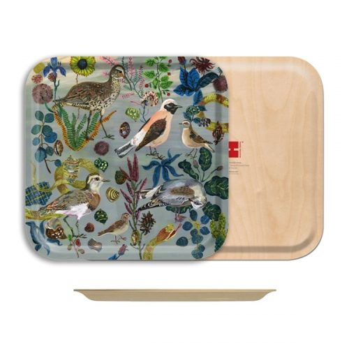 "Birds in the Dunes Birch Wood Rectangle Tray-12½"" x 12½"""