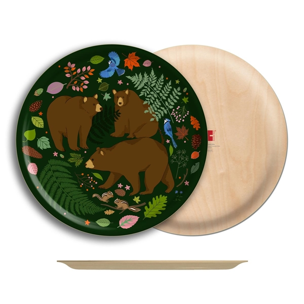 "Bears Birch Wood Round Tray- 18"" Dia"