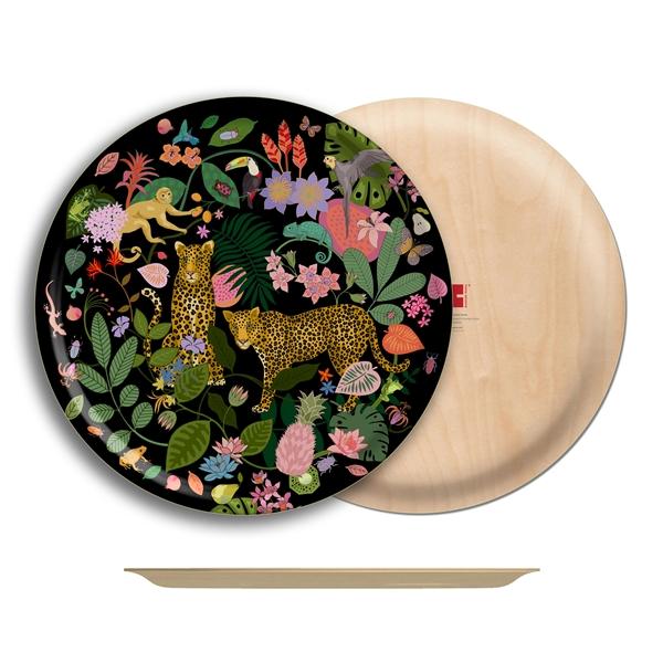 "Tropical Birch Wood Round Tray- 18"" Dia"