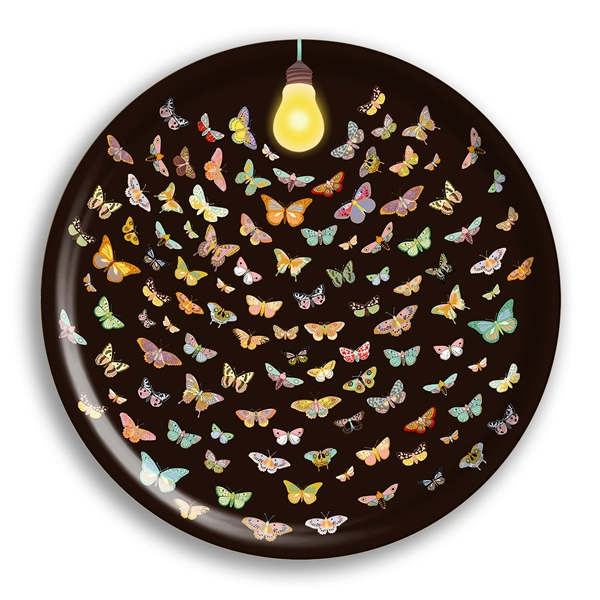 """Like a Moth Two a Flame Birch Wood Round Tray- 15"""" Dia"""