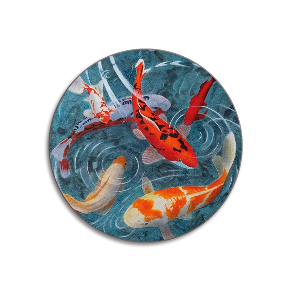 Pond of Koi Fish Round Coasters - Set of 4