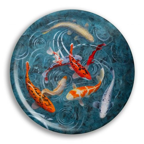 "A Pond Of Koi Fish Birch Wood Round Tray- 15"" Dia"