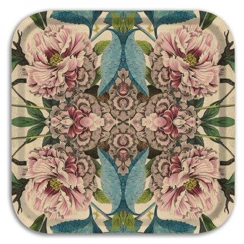 "Peony Birch Wood Square Tray-12.5""x 12.5"""