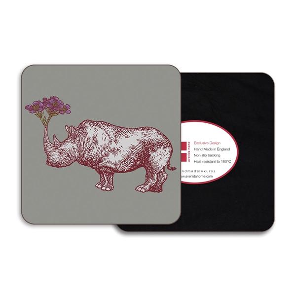 Rhino Square Coasters - Set of 4