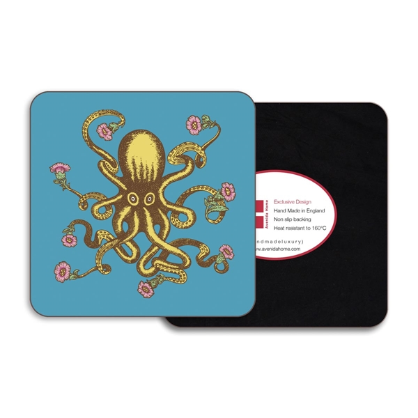 Octopus Square Coasters - Set of 4
