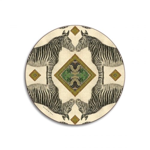 Zebra Round Coasters - Set of 4