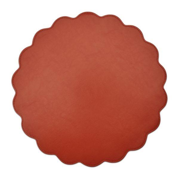 Classic Faux Leather Placemat Orange- Set of 2